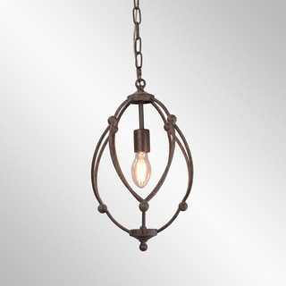 Rosario Rustic Brown Distressed Teardrop Pendant by Kosas Home