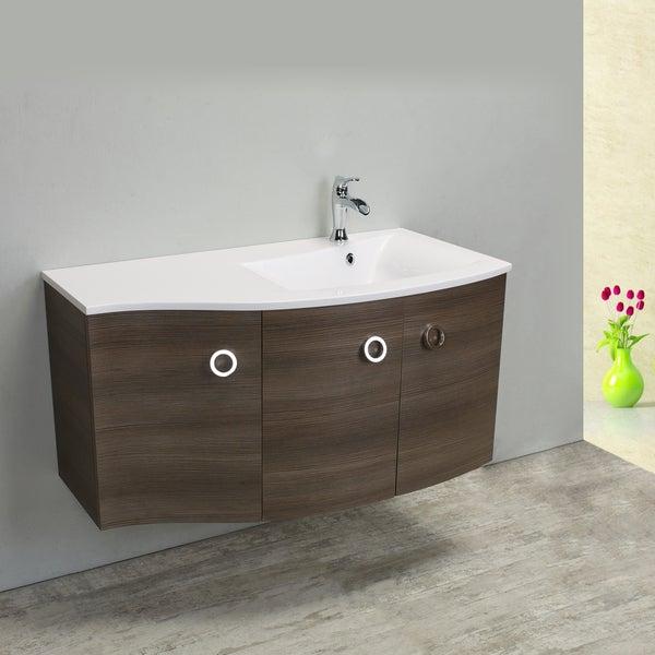 Shop Eviva Romina Medium Grey Oak Wenge 42 Inch Modern Bathroom