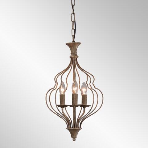 Winona Rustic Antique Bronze 3-Light Chandelier by Kosas Home
