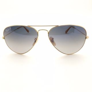 Ray Ban Polarized RB3025 Aviator Gradient Unisex Gold Frame Blue/Grey Lens Sunglasses
