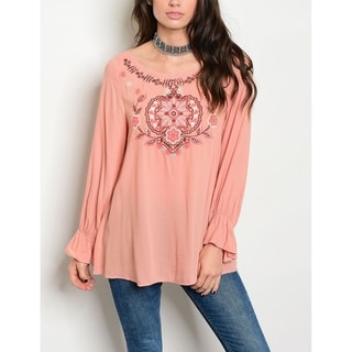 JED Women's Long Sleeve Embroidered Tunic Top