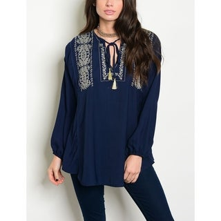 JED Women's Long Sleeve Embroidered Relax Fit Tunic