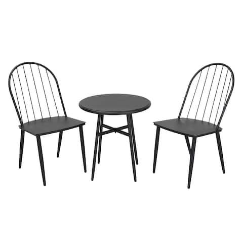 COSCO Outdoor 3-Piece Windsor Steel Black Conversation Furniture Set