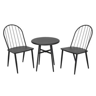 COSCO Outdoor 3-Piece Windsor Steel Black Conversation Furniture Set
