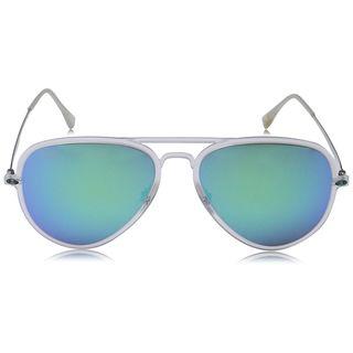 Ray Ban RB4211 Aviator Light Ray Unisex Silver Frame Blue Mirror Lens Sunglasses
