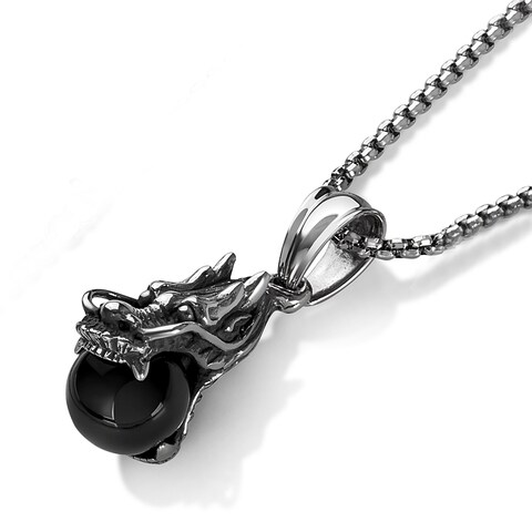 """Crucible Men's Antiqued Stainless Steel Black Orb Dragon Pendant (18.4mm Wide) - 30"""" - Silver"""