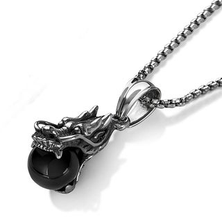 "Crucible Men's Antiqued Stainless Steel Black Orb Dragon Pendant (18.4mm Wide) - 30"" - Silver"