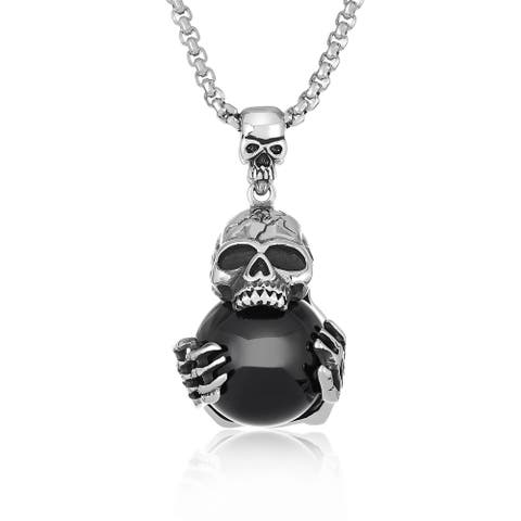 "Crucible Antiqued Stainless Steel Black Orb Skull Pendant - 30"" - Silver"
