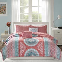 Intelligent Design Eleni Coral Printed Reversible Coverlet Set