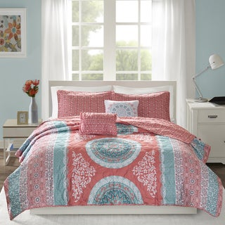 Intelligent Design Eleni Coral Printed 5-piece Reversible Coverlet Set