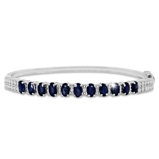 3 TGW Sapphire and Diamond Accent Bangle Bracelet (J-K, I1-I2), Platinum Over Brass