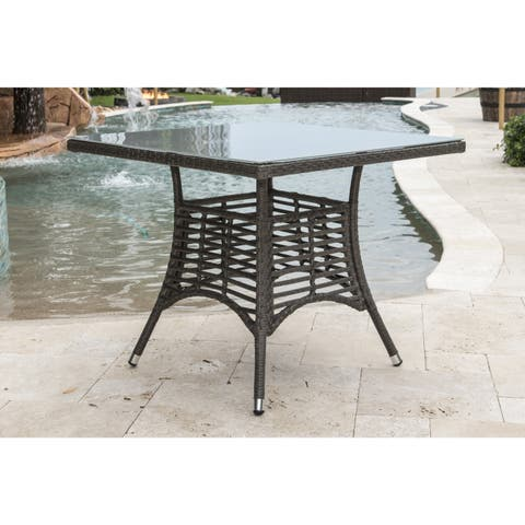 Panama Jack Graphite Grey Aluminum 36-inch Square Dining Table with Frosted Glass Top and Umbrella Hole