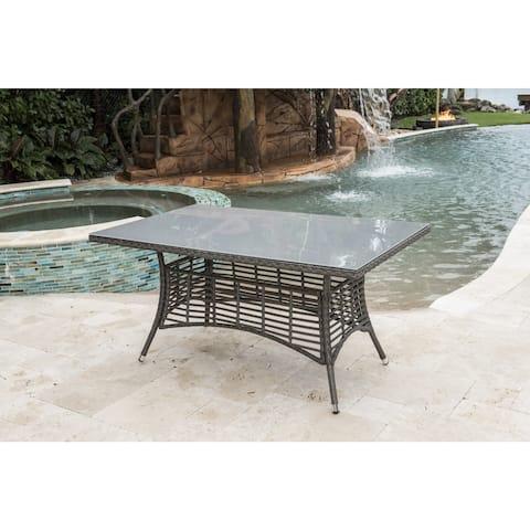 Panama Jack Grey Aluminum/Resin/Glass Rectangular Table with Umbrella Hole