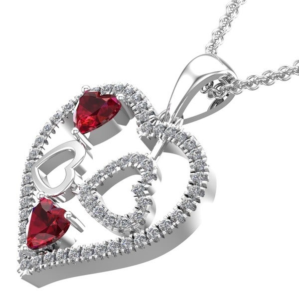 edd15e6b545e3 Shop Heart-shaped Sterling Silver Lab-grown Ruby and Created White ...