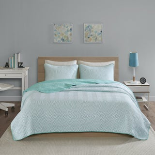 Intelligent Design Keya Aqua Jersey Knit Printed 3-piece Quilt Set