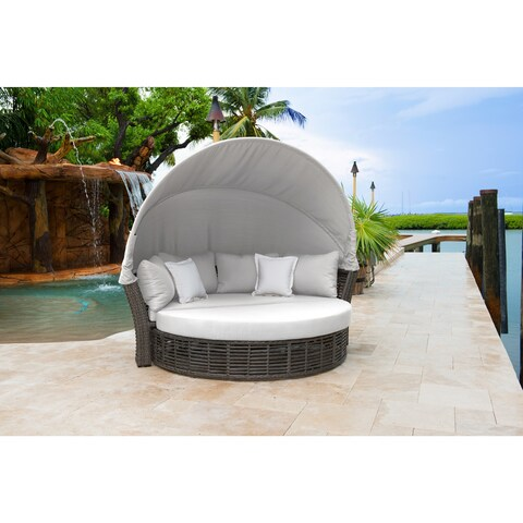Panama Jack Graphite Resin Wicker/Aluminum Canopy Daybed