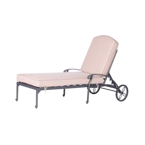 Havenside Home Saybrook Aluminum Single Chaise Lounger with Cushion