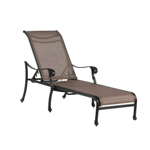 Havenside Home Manasquan Cast Aluminum Reclining Sling Chaise Lounger