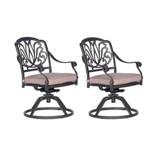Havenside Home Saybrook Cast Aluminum Swivel Rocker with Cushion (Set of 2)