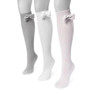 MUK LUKS® Women's 3 Pair Pack Pointelle Bow Knee High Socks