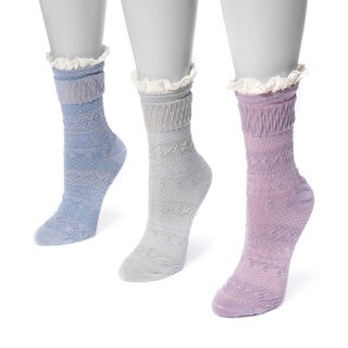 MUK LUKS® Women's 3 Pair Pack Lace Top Boot Socks