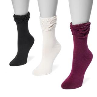 MUK LUKS® Women's 3 Pair Pack Ruffle Boot Socks