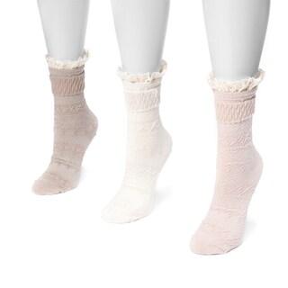 MUK LUKS® Women's 3 Pair Pack Lace Top Boot Socks