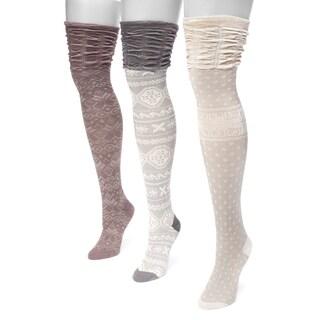 MUK LUKS® Women's 3 Pair Pack Microfiber Over the Knee Socks