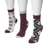MUK LUKS® Women's 3 Pair Pack Holiday Boot Socks