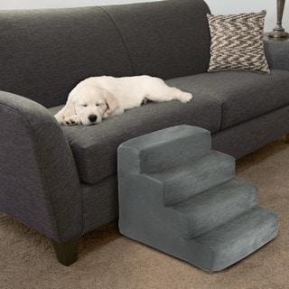 Link to High Density Foam Pet Stairs 4 Steps with Machine Washable Zippered Removeable Micro-Fiber Cover by PETMAKER Similar Items in Dog Stairs & Ramps
