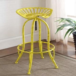 Distressed Yellow Tractor Design Seat Adjustable Swivel Bar Stool