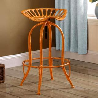 Distressed Orange Tractor Design Seat Adjustable Swivel Bar Stool
