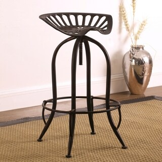 Distressed Black Brushed Copper Tractor Design Seat Adjustable Swivel Bar Stool