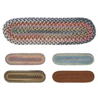 Rustic Wool Oval Braided Stair Tread (8 Inch x 28 Inch)
