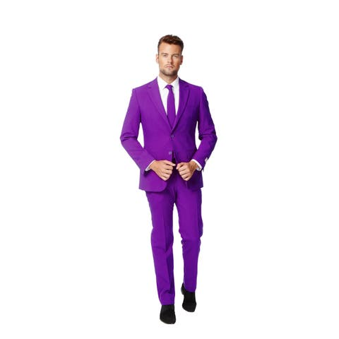 OppoSuits Men's Purple Prince Solid Color Suit