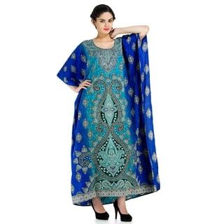 Long Glitter Turquoise Caftan Dress
