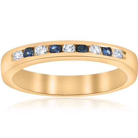 14k Yellow Gold 1/3 ct TW Diamond & Blue Sapphire Anniversary Wedding Ring (I-J, I2-I3)