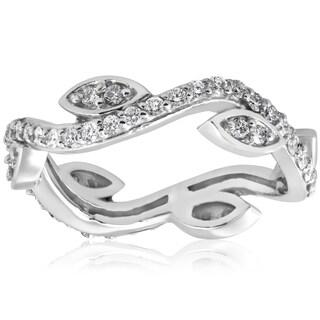 14K White Gold 1/2 ct TDW Diamond Vintage Vine Floral Leaf Petal Eternity Stackable Wedding Ring (I-J,I2-I3)