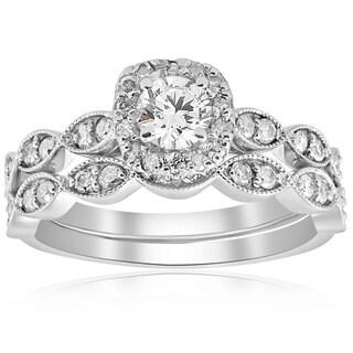 14k White Gold 7/8 cttw Cushion Halo Diamond Engagement Wedding Ring Set Vintage (I-J,I2-I3)