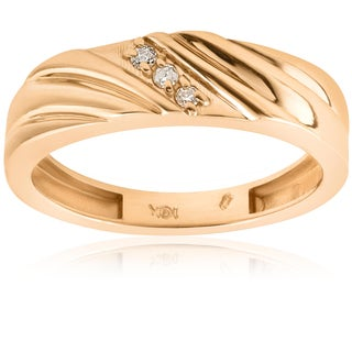 14k Yellow Gold Mens Diamond Wedding Anniversary Ring (I/J, I2-I3)