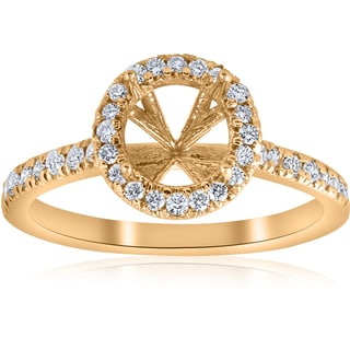 14k Yellow Gold .36ct Halo Diamond Engagement Semi Mount  Ring Setting  (H-I,SI1-SI2)