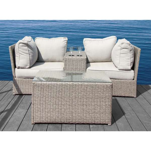 Chelsea 4 Pc Cup Table Set -Resort Grade Outdoor Furniture Patio Sofa Set With Back Cushions