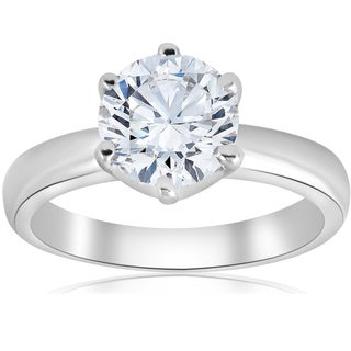 14k White Gold 1 1/2 ct TDW Round Diamond Solitaire Engagement Ring Clarity Enhanced 6-Prong (H-I,I1-I2)