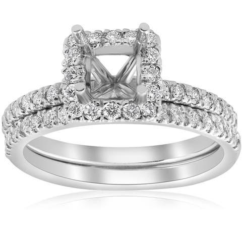 14k White Gold 5/8ct Princess Cut Diamond Halo Engagement Ring Setting Matching Band (I/J, I2-I3)