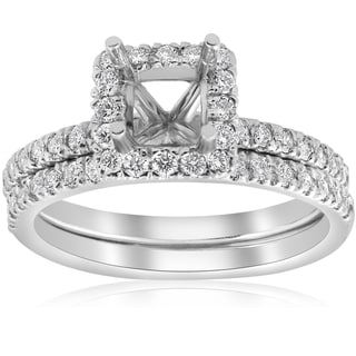 14k White Gold 5/8ct Princess Cut Diamond Halo Engagement Ring Setting Matching Band (I/J, I2-I3)