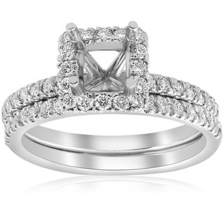 14k White Gold 5/8ct Princess Cut Diamond Halo Engagement Ring Setting Matching Band (I/J, I2-I3) (More options available)