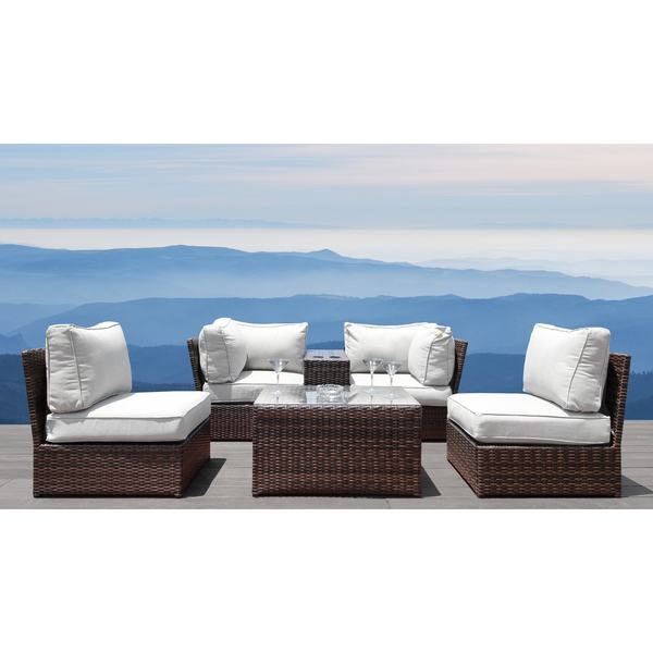Lucca 6 Piece Cup Table Sectional Set- All Weather Resort Grade Outdoor Furniture Patio Sofa Set With Back Cushions
