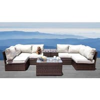 Lucca 9 Piece Sectional Set- All Weather Resort Grade Outdoor Furniture Patio Sofa Set With Back Cushions