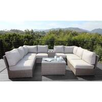 Patio Sofa Set - All Weather Outdoor Furniture Patio Sofa Set With Back Cushions Chelsea 10 Piece Cup Table Sectional Set -