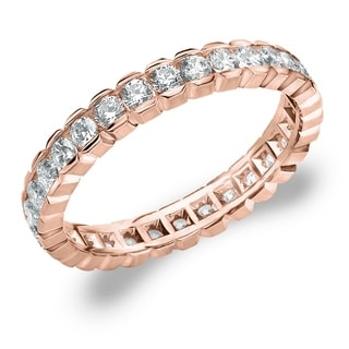Amore 10K Rose Gold 1.0 CTTW Eternity Diamond Wedding Ring - White I-J